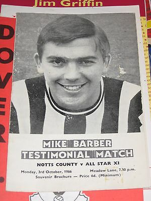 3.10.1966 Mike Barber Testimonial Notts County v All Star XI