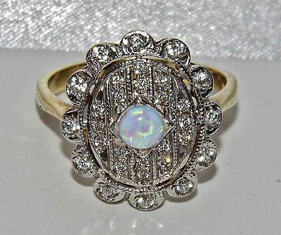VICTORIAN 9 CT YELLOW GOLD ON SILVER OPAL & WHITE SAPPHIRE CLUSTER RING size Q