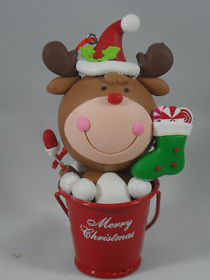 Reindeer with Candy Cane in Red Bucket Christmas Tree Ornament new holiday