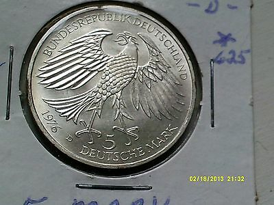 Germany 5 Mark Silver Coin .625  1976D  KM144 Bright Uncirculated