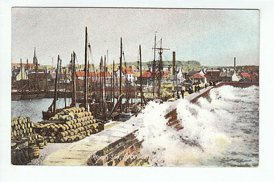 Rough Sea Arbroath Harbour Angus Pre 1914 B&R Old Postcard Postally Unused