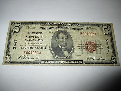 $5 1929 Concord New Hampshire NH National Currency Bank Note Bill Ch. #2447 FINE