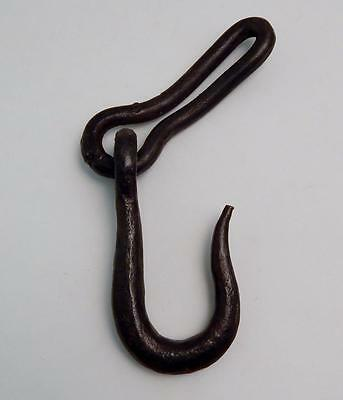 "Antique Blacksmith Hand Forged Wrought Iron 6"" Hook & Chain Link"