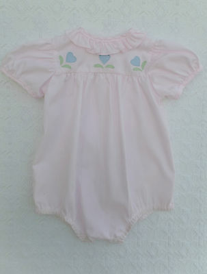 Vintage 60s Pink Baby Doll Onesie Romper Playsuit with Flower Appliques 18mts