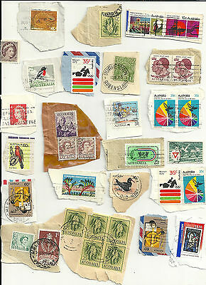 Australia 34 used stamps mostly on paper (1450)