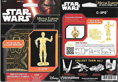 Star Wars Movies C-3PO Droid Gold Toned Metal Earth Steel Model Kit NEW SEALED