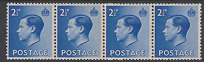 Great Britain (147) 1936 KE8 2.5d COIL JOIN strip of 4 unmounted mint