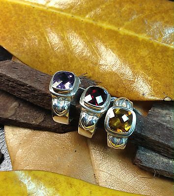 Sterling Silver .925 Rings Handcrafted Amethyst Citrine Garnet Cushion Size 5.5