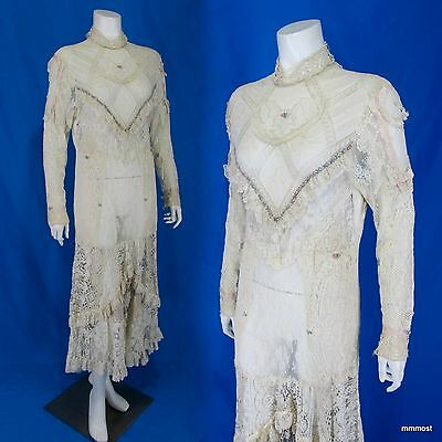 Gypsy Peasant Boho Wedding Dress Antique Mixed Lace Ribbons Crochet Size S