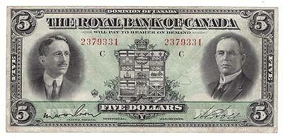 1927 Royal Bank of Canada $5 Banknote Wilson 14-04 VF20+ problem free