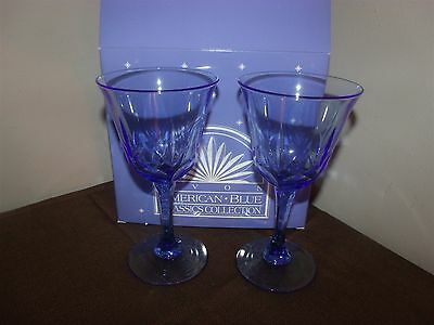 Set of 2 Fostoria Avon American Blue Classic Water Goblets Crystal NEW