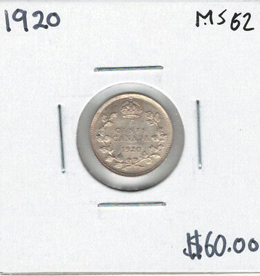 Canada 1920 Silver 5 Cents MS62