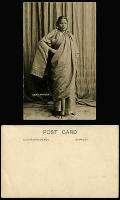 Singapore Old Real Photo Postcard Tamil Woman Lady Barefoot Traditional Costumes