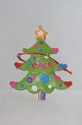 Clay dough Green Peace Christmas Tree Ornament new