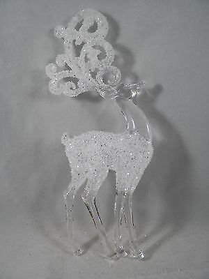 Clear Glittered Reindeer Standing Christmas Tree Ornament new holiday