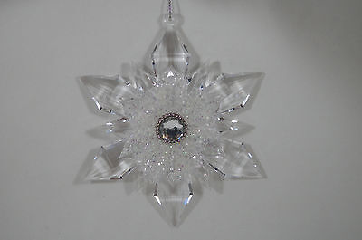 Clear Glittered Jeweled Snowflake Christmas Tree Ornament new holiday
