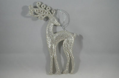Champagne and Silver Glittered Deer Prancing Christmas Tree Ornament new holiday