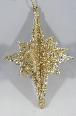 Gold Glittered Snowflake Christmas Tree Ornament new holiday