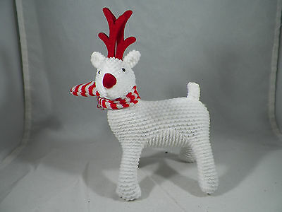 White Reindeer Wearing Scarf Christmas Tree Ornament new holiday