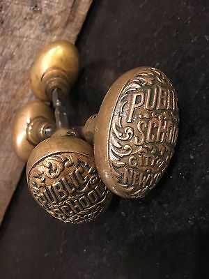 Pair of Original Brass PUBLIC SCHOOL CITY OF NEW YORK Doorknobs Door Knobs NY