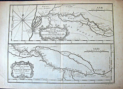 ca 1746 SENEGAL rivers W AFRICA 2 antique maps on 1 sheet, lots of detail French