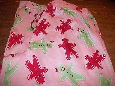 Girls Pajama Pants sz 12 OLD NAVY Pink w/Red & Green Gingerbread Girls NEW