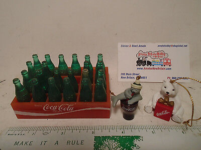 """3.5"""" X 2.5"""" Tray Of Coca-Cola Miniature Bottles And 2 Coke Christmas Ornaments"""