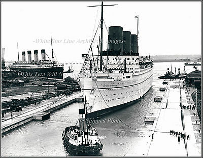 Photo: The SS Empress Of Britain & The RMS Olympic, S Hampton's Ocean Dock, 1935