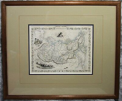 Antique Map Framed Under Glass  John Tallis 1852 Russia In Asia + Documentation