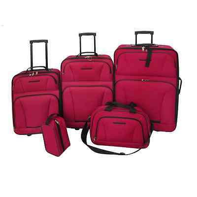New 5pcs 2 Wheeled Luggage Set Red Travel Carry On Bag Trolley Upright Suitcase