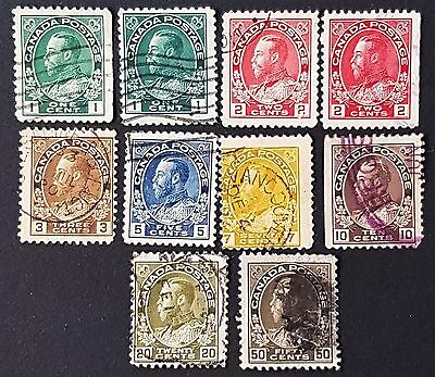 Canada 1911 to 1922 Sg # 196 to Sg #215 Used Stamps Collection