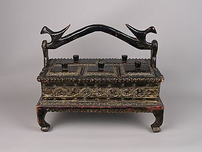 A 19th c. Burmese Lacquered & Bejewelled Hard-Wood Betel Compendium.