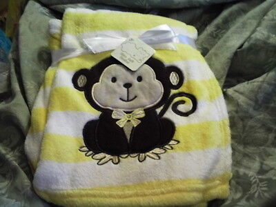 Nwt Baby Monkey Yellow White Ulta Soft  Blanket Neutral  Colors