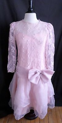 VTG Organza Lace Pearls Rhinestones 20's Look Formal Wedding Dress