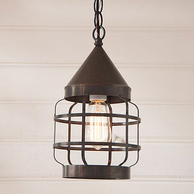 Country Farm House Style Round Hanging Strap Light in Blackened Tin - Lighting