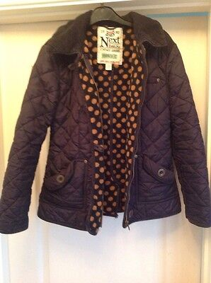 Next Girls Navy Quilted Coat Jacket. Age 11-12