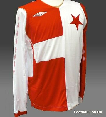 SLAVIA PRAGUE Umbro L/S Home Shirt 2008/10 NEW L,XL BNWT Praha Czech Jersey LS
