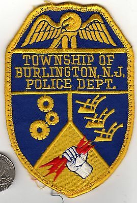 POLICE PATCH State of NEW JERSEY BURLINGTON Township NJ Cloth Crest Shield Badge