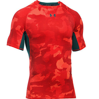 Under Armour Heatgear Compression Impreso Manga Corta Camiseta naranja