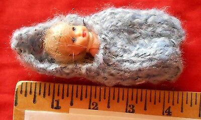 "Doll Clothes ooak fuzzy blues baby Cocoon 3"" Fit Krissy or Kewpie piano 2.5"""