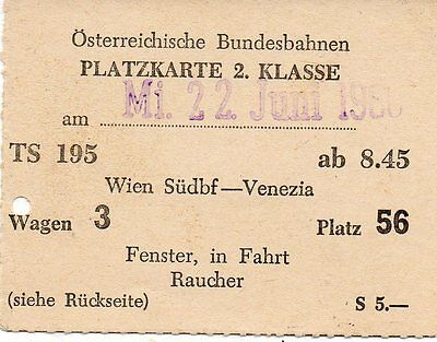 Austrian Federal Railways Ticket. 1960 Vienna - Venice