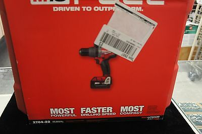 "Milwaukee 2704-22 18 Volt M18 FUEL RED Lithium-Ion 1/2"" HP Hammer-Drill Kit"
