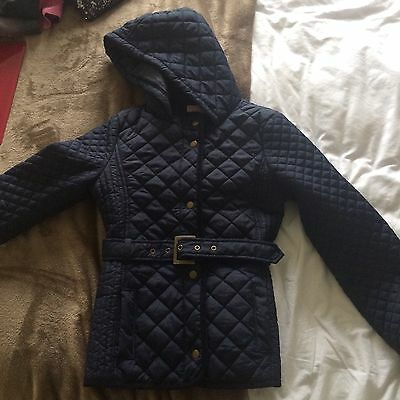 Girls Navy Lightly Padded School Coat From M&S, Age 11-12