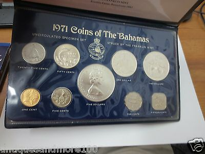 1971 COINS OF THE BAHAMAS Uncirculated Specimen Set Struck by the Franklin Mint