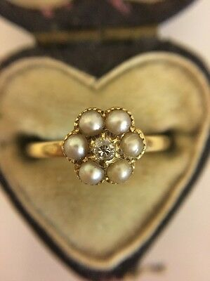 Antique Victorian Unusual Yellow Gold Pearl And Diamond Cluster Flower Ring
