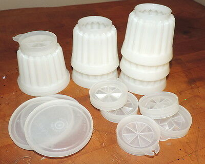 Set of 6 Tupperware 4 oz Ribbed Molds with 4 Lids and 6 Bottom Lids