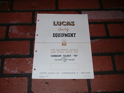 Genuine Sunbeam Talbot 90 Mk 1 Lucas Spare Parts List & Wiring Diagram.1950.
