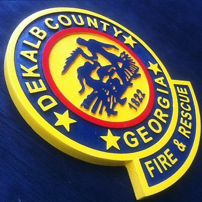 Fire Department Dekalb 3D routed carved plaque wood patch sign Custom