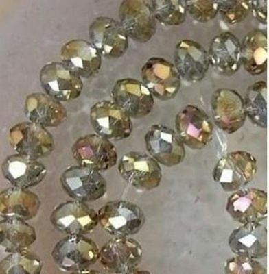 Cheap wholesale gray color colored crystal beads 6x8mm 70PC. Free Shipping