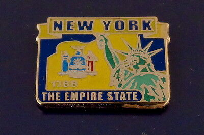 New York State Map Lapel Pin NY flag STATUE OF LIBERTY/THE EMPIRE STATE
